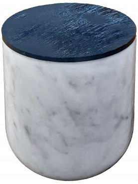 Container in white Carrara marble and slate for salted anchovies