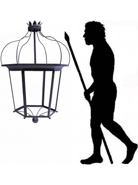Lanterna da giardino H. 120 cm in ferro antica foggia Toscana rinascimentale