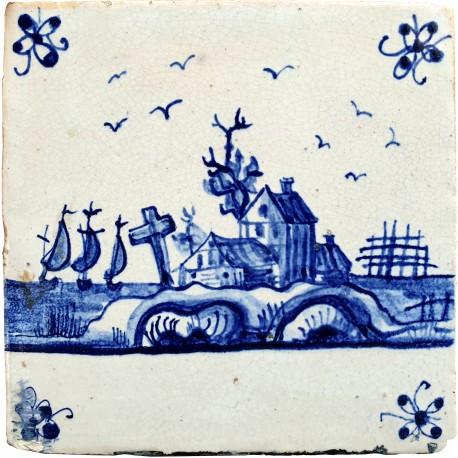 Originale Piastrella Delft antica maiolicata olandese
