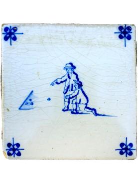 Piastrella Delft antica maiolicata olandese gioco delle bocce