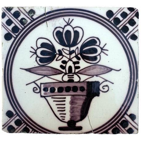 Ancient majolica Delft tile still life