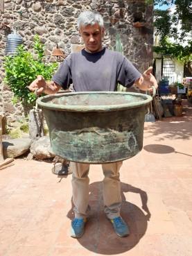 Giant copper pot cauldron