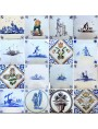 Ancient majolica Delft tile wayfarer