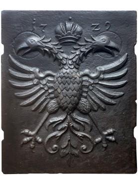 Antique original double-headed eagle fireback slab 1729
