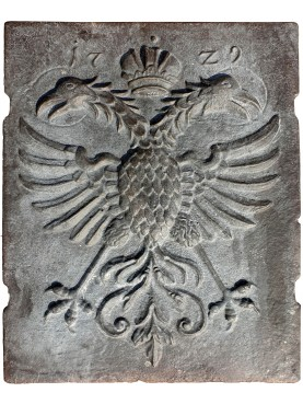 double-headed eagle bronze fireback slab dated 1729