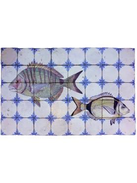 Fish majolica panel sea breams 40 tiles