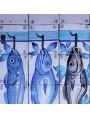 Pannello maiolicato con 7 pesci