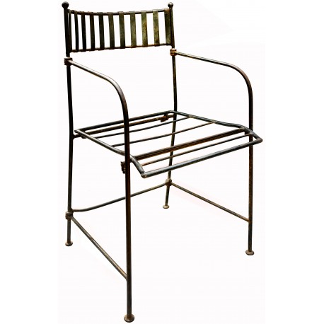 Sedia pieghevole francese in ferro battuto da giardino con seduta intrecciata