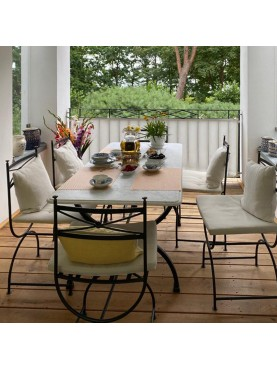 Porcinai table with white Carrara marble top