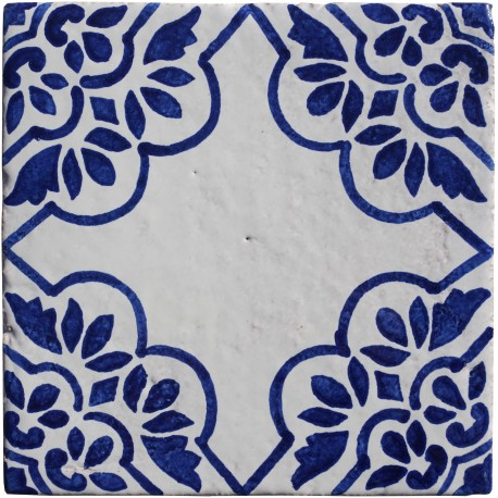 White and blue majolica tiles with flowers and central decoration