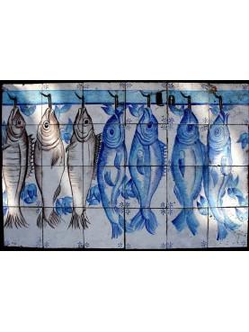 Pannello portoghese con 7 pesci