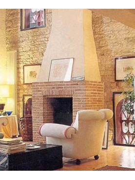 Minimalist brick fireplace