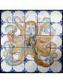 Pannello con il polpo - 25 piastrelle di maiolica