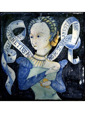 Piastrella con immagine rinascimentale