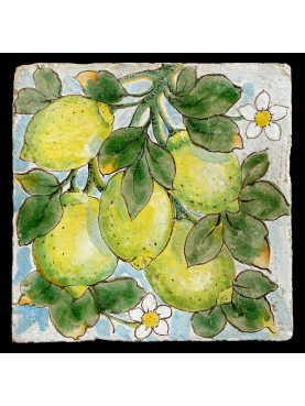 Maiolica tile with lemons