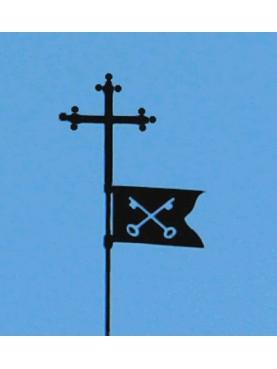 Iron Pisa Cross with flag