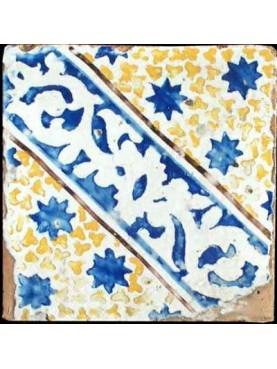 Ancient majolica tile - blue stars