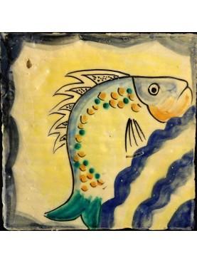 """Riproduzione di piastrella siciliana """"pesce"""""""