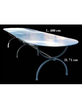 Tavolo in ferro 400 X 120 CM porcinai a centine A TRE GAMBE SMALTATO