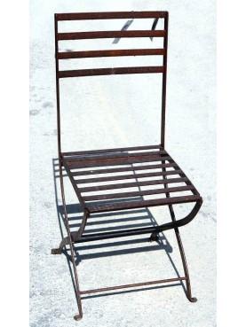 Sedia pieghevole in ferro battuto molto robusta