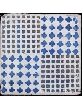 Blue and manganese majolica ancient tile