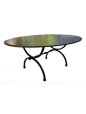 Wrought iron oval table