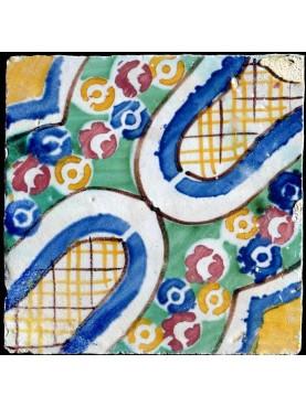 Piastrella antica fiorata maiolicata