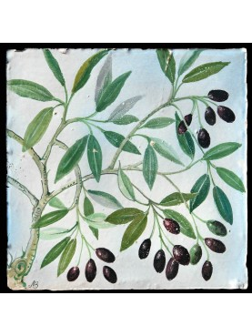Tralci d'olivo - piastrelle maiolicate