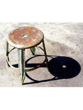 Two forged iron stools