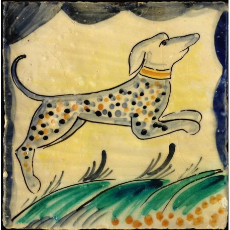 """Riproduzione di piastrella siciliana """"cane"""""""
