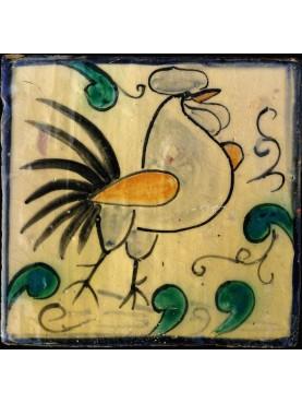 """Riproduzione di piastrella siciliana """"gallo"""""""