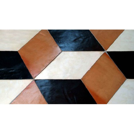 Optical floor with three different colored rhombs
