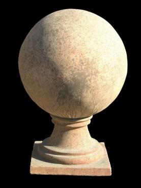 Sfera in terracotta con base, diametro 45 cm