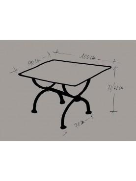 Tavolo rettangolare a Centine 100CM con piano di lamiera