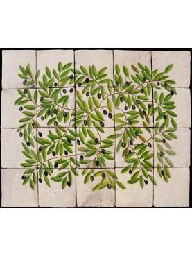 Pannello maiolicato olivo