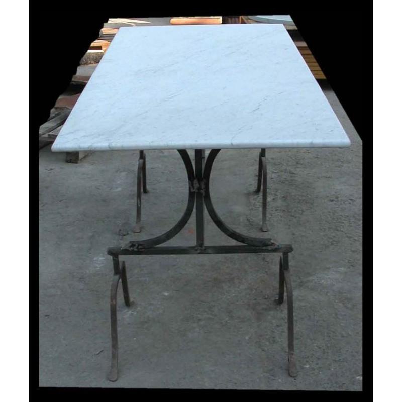 Tavolo in marmo 177 CM con cavalletti in ferro - Recuperando