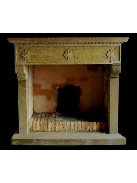 Tuscan fireplace in peperino stone