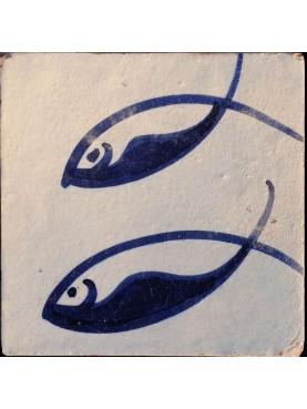 Piastrelle Berbere 9,5x9,5cm pesci azzurri