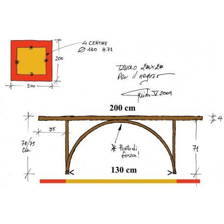Tavolo quadrato 200 x 200 cm. alto cm.75