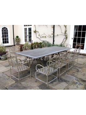 Tavolo in ferro con piano in bardiglio