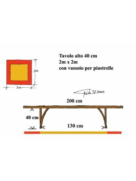 Square table 200 x 200 cm