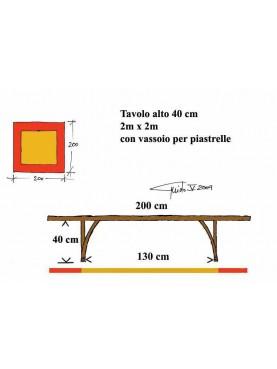 Tavolo quadrato 200 x 200 cm. alto cm.40