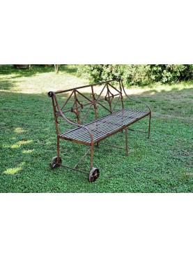 Panchina / Divanetto in ferro battuto con ruote