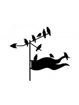9 Storni sulla banderuola segnavento in ferro