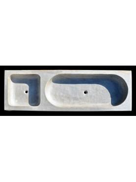 Enorme lavandino a due buche in marmo bianco di Carrara