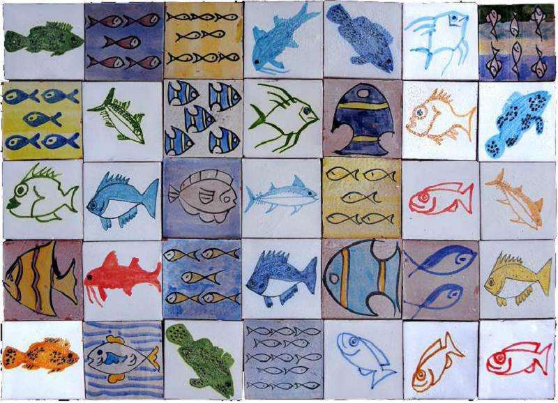 Piastrelle marocchine berbere pesci recuperando