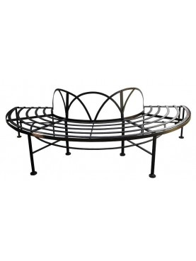 semicircular forged iron tree bench
