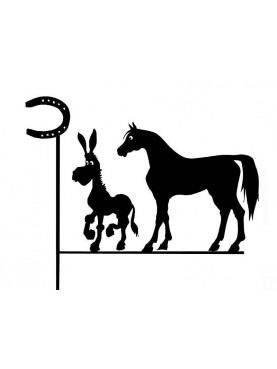 Weather vane with Donkey and Horse