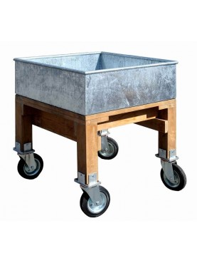Galvanized iron container, teak legs and 4 wheels