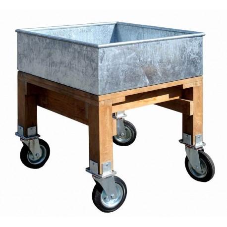 Vasca in ferro zincato, TEAK e ruote